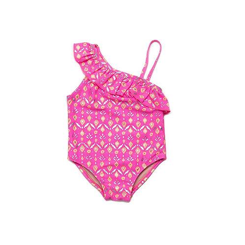 Egg Hot Pink Orange Print Swimsuit