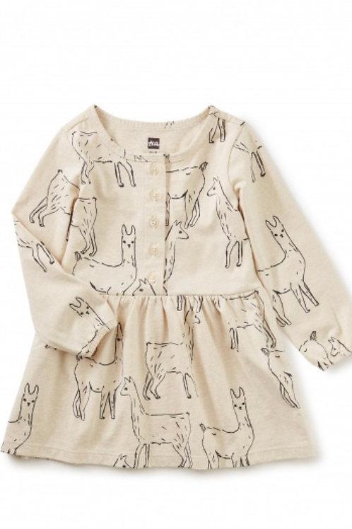 Tea Llama Long Sleeve Dress
