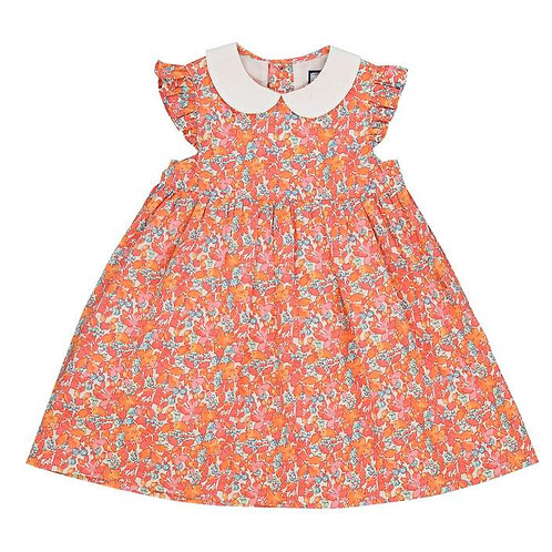 Busy Bee coral floral dress