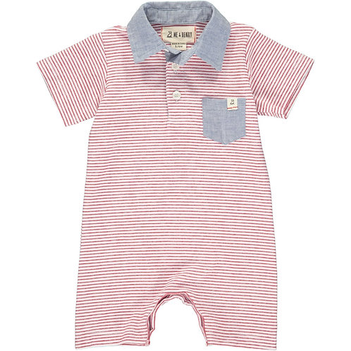 Me & Henry Red Stripe Polo Playsuit