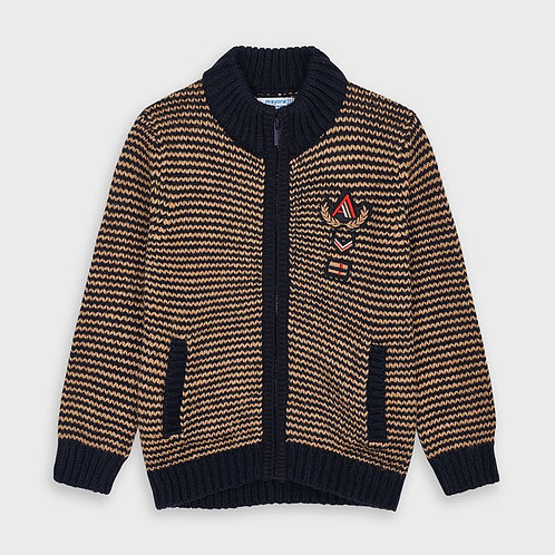 Mayoral Brown & Blue Woven Knit Sweater
