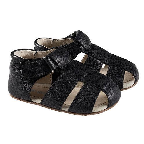 Robeez Matthew Black Leather First Kicks Shoe