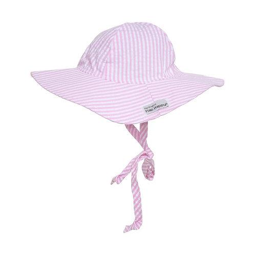 Flap Happy Pink Stripe Seersucker Sun Hat