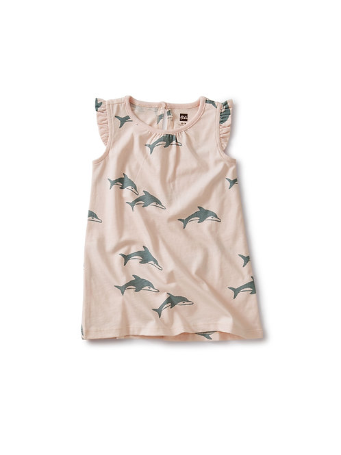 Tea Ruffle Shoulder Dress