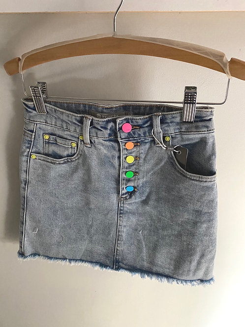 Jean skirt with neon buttons