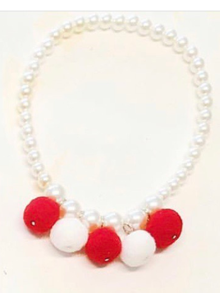 Sparkle Sisters Red and White Pom Pom Necklace