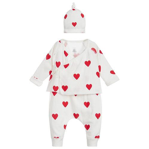 Petit Bateau Heart 3 Piece Outfit