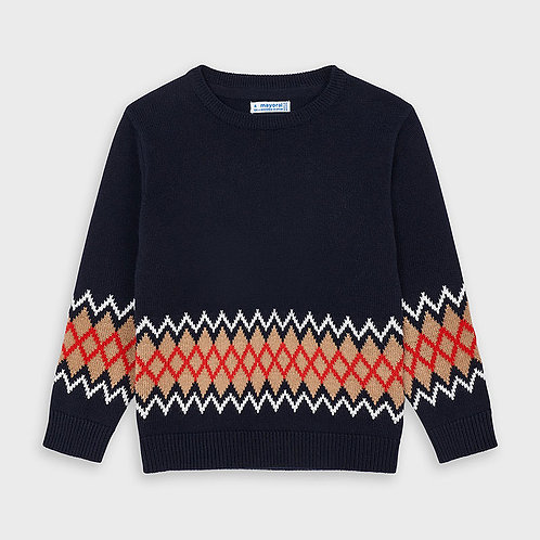 Mayoral Blue Zig Zag Pullover Sweater