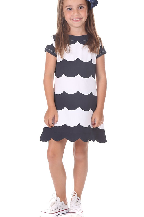 Duffield Lane Navy Scallop Dress