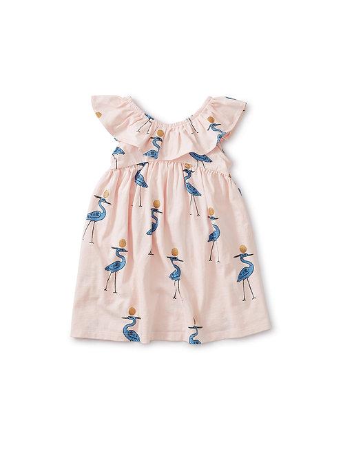 Tea Ruffle Neck Bird Dress