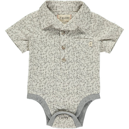 Me & Henry Blue Floral Woven Onesie