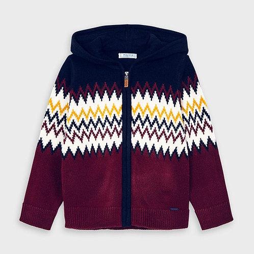 Mayoral Burgundy Zig-Zag Zip Up Sweater