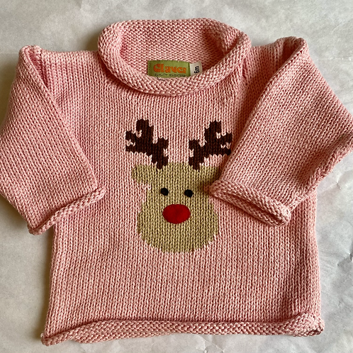 Pink Rudolph sweater
