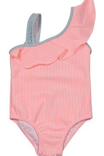 Properly Tied One Shoulder Coral Stripe Swimsuit