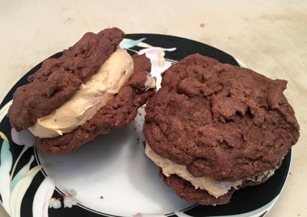 peanut butter stuffed chocolate cookies.