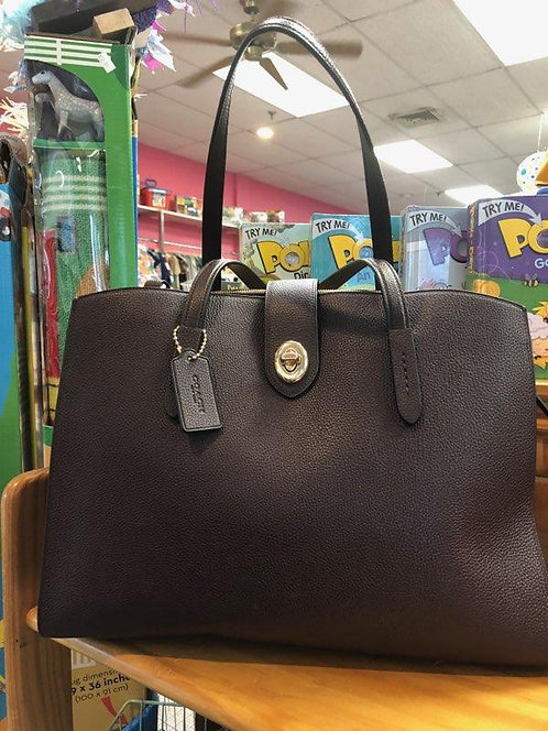 Coach brown pebbled leather tote with dust bag!