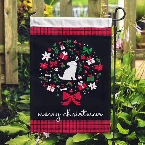 MerryChristmasReindeerPupGardenFlag_Mock