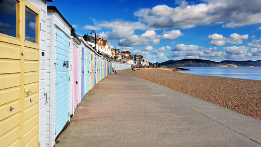 Lyme bay beach huts.