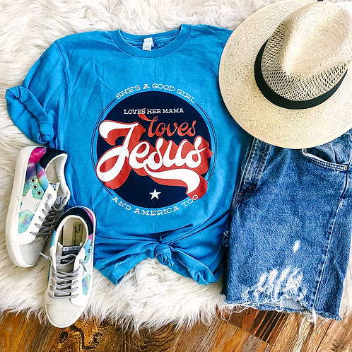 Loves Jesus and America Too (Light Blue Burnout)