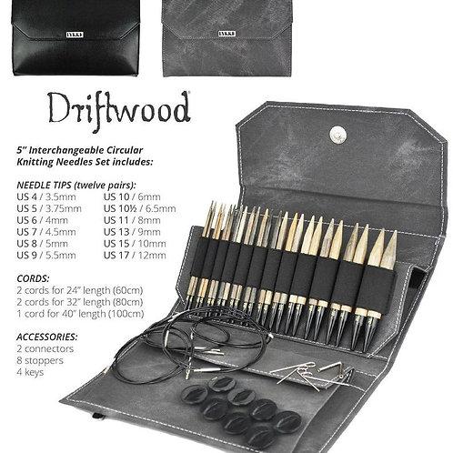 """Lykke Driftwood 5"""" Interchangeable Needle Set in Grey Denim Pouch"""