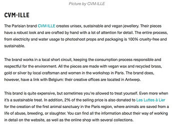 CVM ILLE jewellery in Chase Belgium Magazine Paris Antwerp green bling upcycled and sustainable jewellery brands
