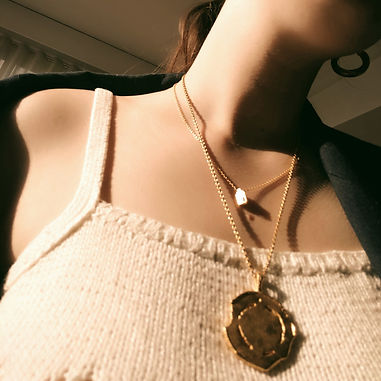 MEDAILLE I from MARIVS collection by CVM ILLE jewellery - MEDAILLE I - large see-through medal in 24k gold-gilded recycled brass - genderless sustainable vegan fashion jewellery handmade in Paris