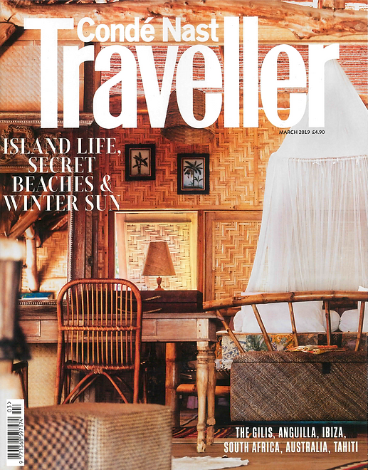 CVM ILLE jewellery in Condé Nast Traveller UK Magazine cover Island life secret beaches & winter sun don't leave home without CVM ILLE Paris handmade summer jewellery fish earcuff in 24 carats gold and recycled brass one of a kind jewel by CVM ILLE STVDIO