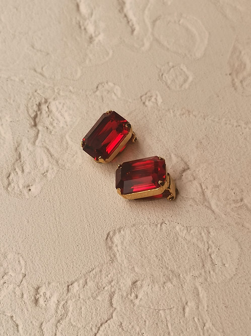 Square red couture clip earrings