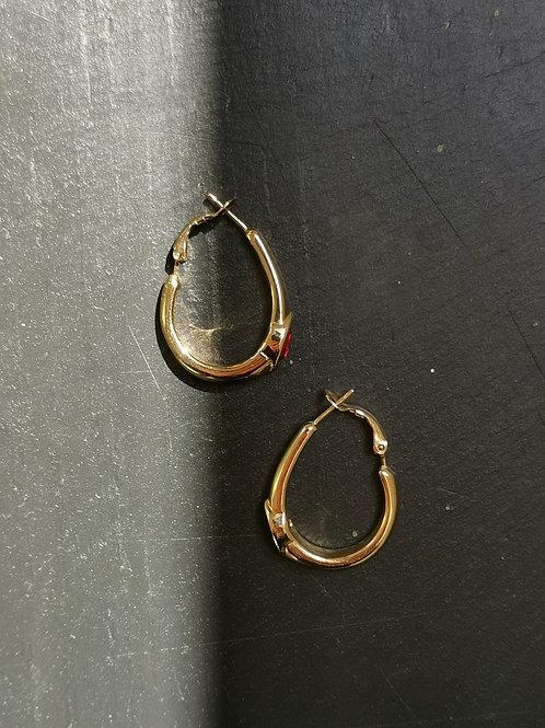 Red crystals hoop earrings