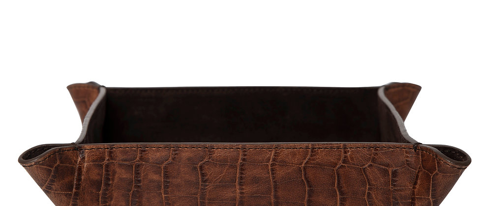 Key Tray | Croco Print | Brown