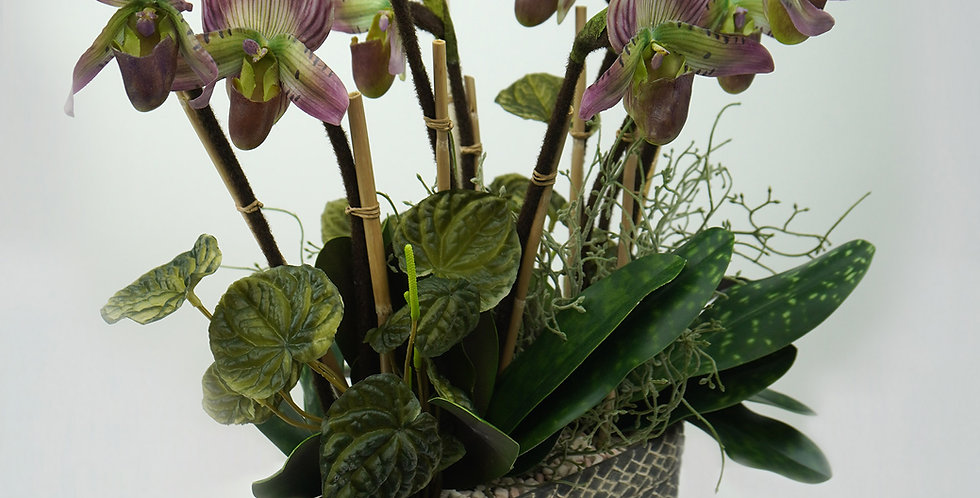 Artificial women shoes orchid with green plants