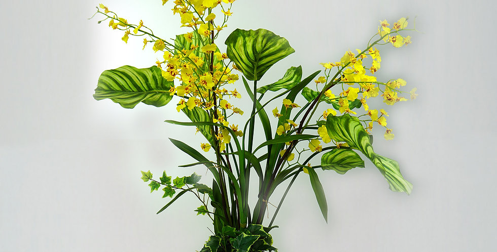 Artificial yellow Oncidium orchid with green plants