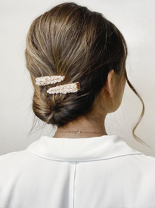 Celine - Set of 2 Gold + Pearl Hairclips