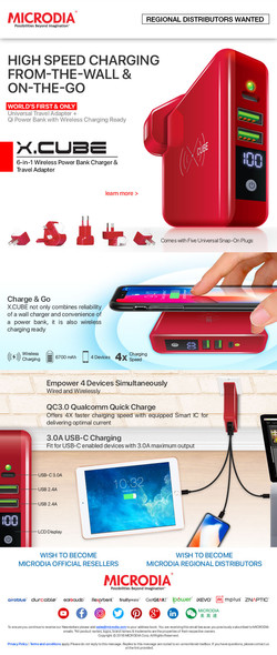 X.CUBE Travel Adapter Red