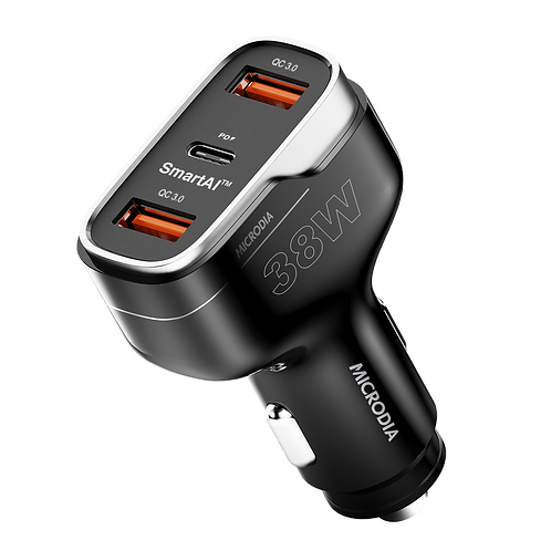 GetGearz  38W 3-Port USB-C 20W PD  + QC3.0 USB Car-Charger