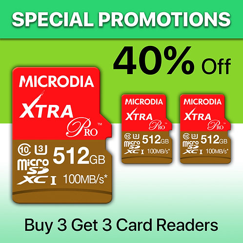 Special Promotion B - XTRA PRO microSD x 3 + Card Readers x 3
