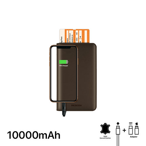 BARON - Leather Passport Holder with Card Case + 10000mAh Power Bank