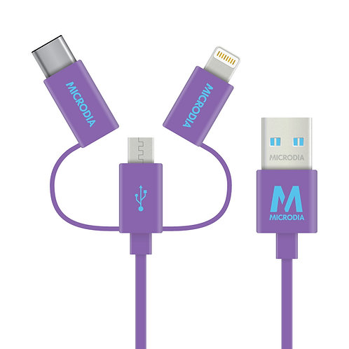 Fruitywire 3-IN-1 - MFi-Certified Tangle-Free Charge & Sync Cable