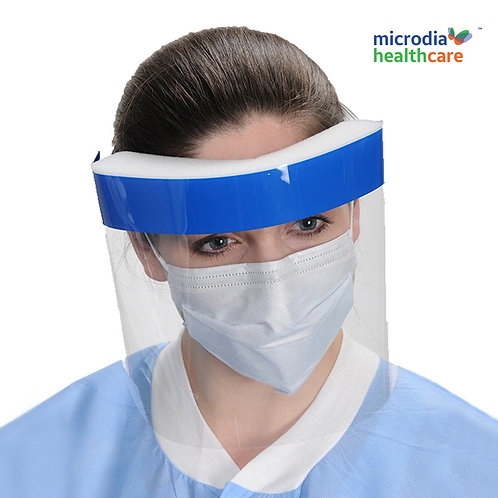 Full Face Shields with vented foam headband for airflow and comfort