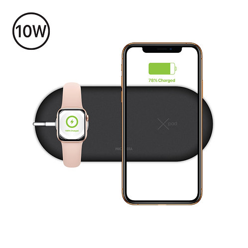 X.PAD 2-IN-1 - 10W Qi-Certified Wireless Charger + Docking for Apple Watch