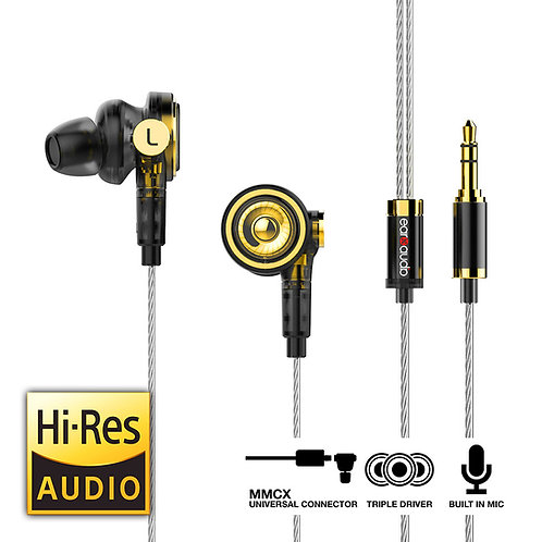 EarXaudio TOURBILLON - Hybrid Triple Driver Earphones with MMCX Connector