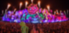 Music Fans Crowd in a music festival with a dj stage with fireworks and flames