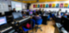 Music students in a class room at Bpm College
