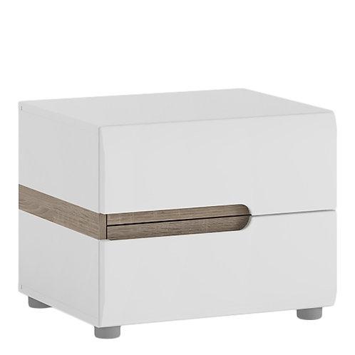 Chelsea Bedroom 2 drawer bedside in white with an Truffle Oak Trim