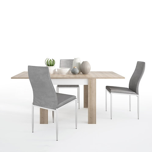 Lyon Small extending dining table 90/180cm + 6 Milan High Back Chair Grey.