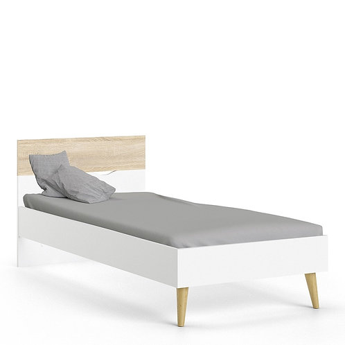 Oslo Euro Single Bed in White and Oak