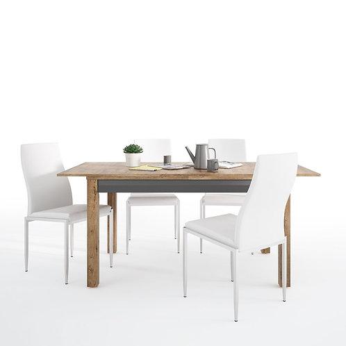 Havana extending dining table + 4 Milan High Back Chair White.