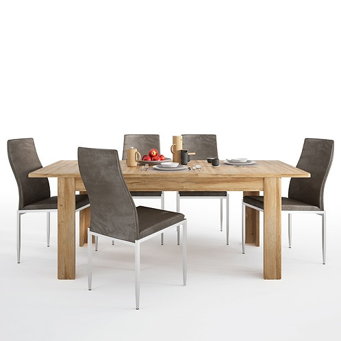 Cortina Extending dining table in Grandson Oak + 4 Milan High Back Chair Brown.