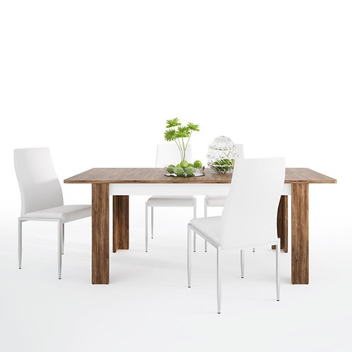 Toledo extending dining table + 6 Milan High Back Chair White.