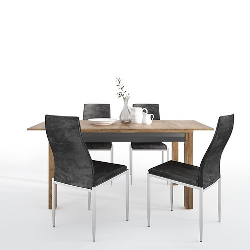 Havana extending dining table + 6 Milan High Back Chair Black.